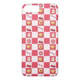Schachbrett-Kirschen und Schaumgummiringe iPhone 8 Plus/7 Plus Hülle