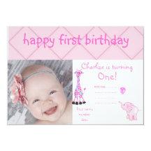 Schachbrettzoo-Party laden Rosa ein Personalisierte Ankündigungskarte
