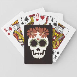 Schädel mit Blumen-Spielkarten Spielkarte
