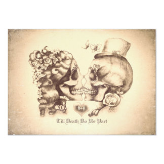 Schädel-Paar-Tag des toten Verlobungs-Party 12,7 X 17,8 Cm Einladungskarte