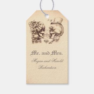 Schädel-Paar-Vintage alte Hochzeit Geschenkanhänger