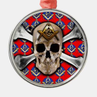 Schädel und Knochen-Quadrat-u. Kompass-helles Rot Rundes Silberfarbenes Ornament