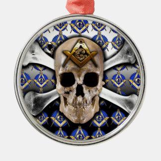 Schädel-und Knochen-Quadrat u. Kompass-Schwarzes Rundes Silberfarbenes Ornament