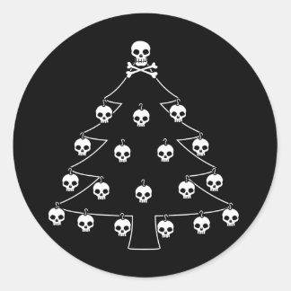 Schädel-Weihnachtsbaum Runder Aufkleber