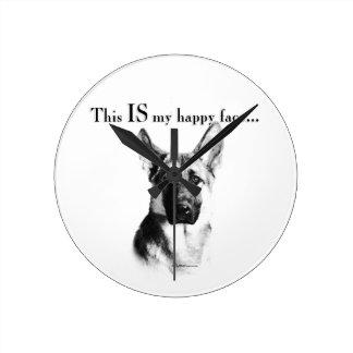 Schäferhund-glückliches Gesicht Runde Wanduhr