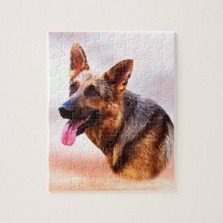 Schäferhund-HundeÖlgemälde-Kunst-Porträt Puzzle