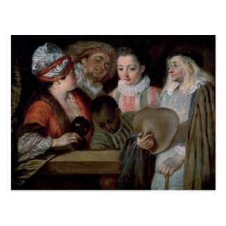 Schauspieler vom Theater Francais, c.1714-15 Postkarte