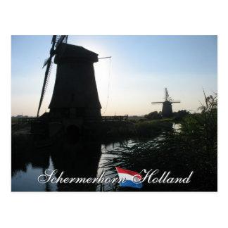 Schermerhorn Polder-Windmühlen-Holland-Postkarte Postkarte