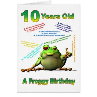 Scherzt 10. Geburtstagskarte des Froggyfreunds mit Karte