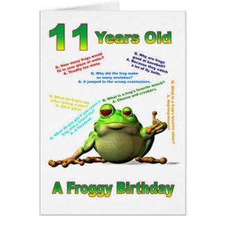 Scherzt 11. Geburtstagskarte des Froggyfreunds mit Karten