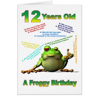Scherzt 12. Geburtstagskarte des Froggyfreunds mit Grußkarte