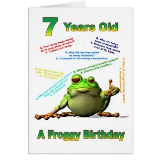 Scherzt 7. Geburtstagskarte des Froggyfreunds mit  Karten