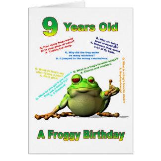 Scherzt 9. Geburtstagskarte des Froggyfreunds mit  Grußkarte