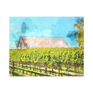 Scheune in einem Weinberg in Napa Valley Leinwanddruck