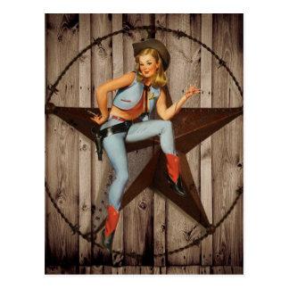 Scheunen-hölzernes Texas-Stern-Westernland Cowgirl Postkarte