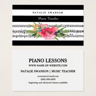 Schicke Blumenklavier-Lehrer-moderne musikalische Visitenkarte