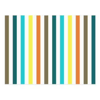 Schicke mehrfarbige Streifen Postkarten