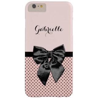 Schicker Pariser rosa Tupfen-Schwarz-Bogen und Barely There iPhone 6 Plus Hülle