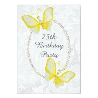 Schicker Schmetterlings-Damast-versah 25. 12,7 X 17,8 Cm Einladungskarte