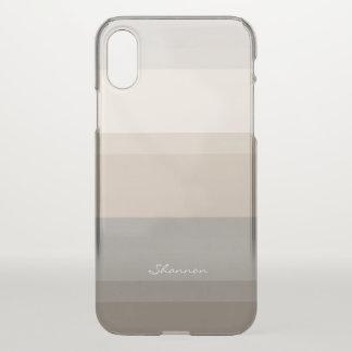 Schicker Taupe, Creme und grauer gestreifter iPhone X Hülle