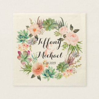 Schickes Aquarell-BlumenKranz Wedding-4 Servietten