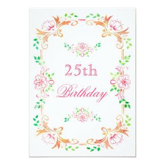 Schickes BlumenAquarell-versah 25. 12,7 X 17,8 Cm Einladungskarte