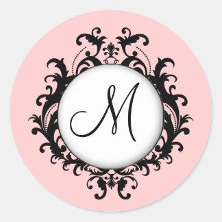 Schickes Hochzeits-Monogramm-Damast-Aufkleber-Rosa Runder Aufkleber