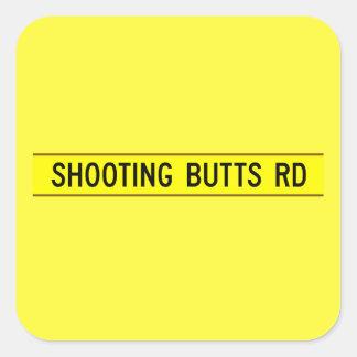 Schießen-Hintern Rd, Straßen-Zeichen, Quadratischer Aufkleber