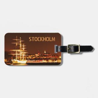 Schiff nachts in Stockholm, Schweden Gepäckanhänger