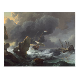 Schiffe in der Bedrängnis vor einer felsigen Küste Postkarte