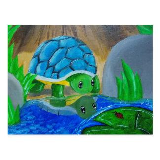 Schildkröte an der Teichpostkarte Postkarte