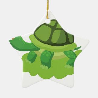Schildkröte, die in das Gras geht Keramik Stern-Ornament