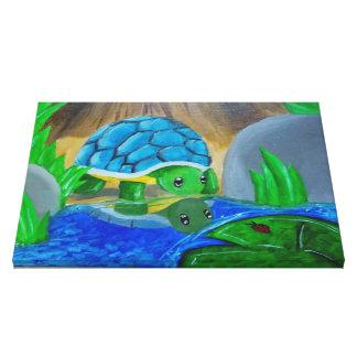 Schildkröte in der Teichmalerei auf Leinwand Gespannte Galerie Drucke