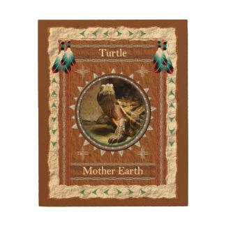 Schildkröte - Mutter-Erdholz-Leinwand Holzdruck
