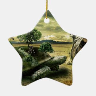 SCHILDKRÖTE UND ELEFANT KERAMIK Stern-Ornament