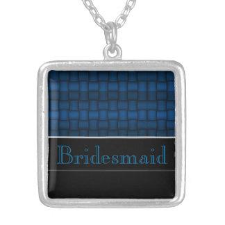Schillernde Blöcke (blau) (Hochzeit) Halskette Mit Quadratischem Anhänger