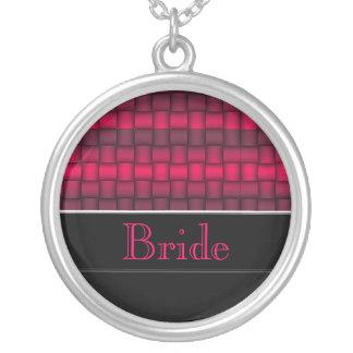 Schillernde Blöcke (Fuschia) (Hochzeit) Halskette Mit Rundem Anhänger