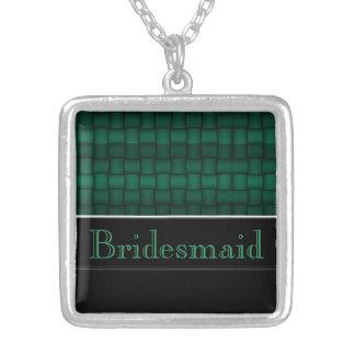 Schillernde Blöcke (Grün) (Hochzeit) Halskette Mit Quadratischem Anhänger