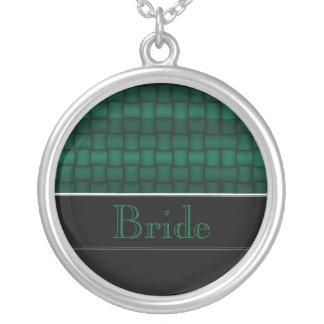 Schillernde Blöcke (Grün) (Hochzeit) Halskette Mit Rundem Anhänger