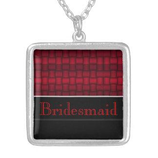 Schillernde Blöcke (rot) (Hochzeit) Halskette Mit Quadratischem Anhänger