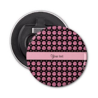 Schillernde funkelnd rosa Glitter-Knöpfe Runder Flaschenöffner