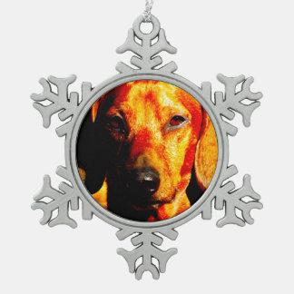 Schimmernde glühende Dackel-Gesichts-Nahaufnahme Schneeflocken Zinn-Ornament