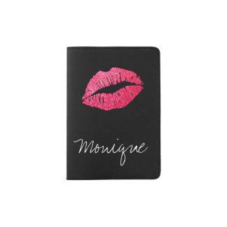 Schimmernde Kuss-Rosa-Lippenschwarzer Pass-Halter Passhülle