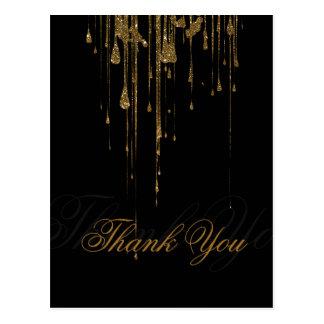 Schimmerndes rosa Glitter-Schwarzes danken Ihnen Postkarten