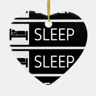 Schlaf-Schlaf-Schlaf-Wiederholung Keramik Herz-Ornament