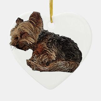 Schlafen Yorkie Keramik Herz-Ornament