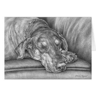 Schlafendobermann-Hund, der durch Kelli Schwan zei Mitteilungskarte