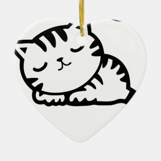 Schlafenkitty-Zeichnen Keramik Ornament