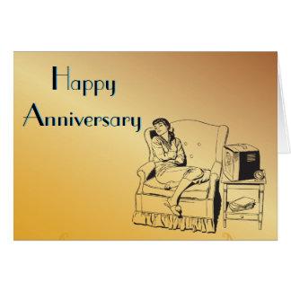 Schlafenmädchen-Jahrestags-Feier-Kunst-Schablone Grußkarte