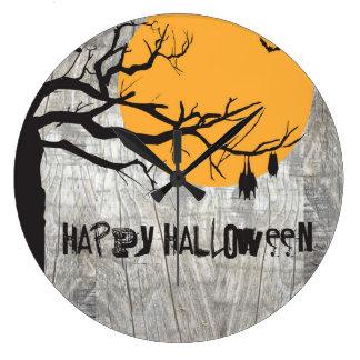 Schläger-Vollmond-Baum-Halloween-Uhr Große Wanduhr